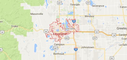Map of Loveland, Colorado
